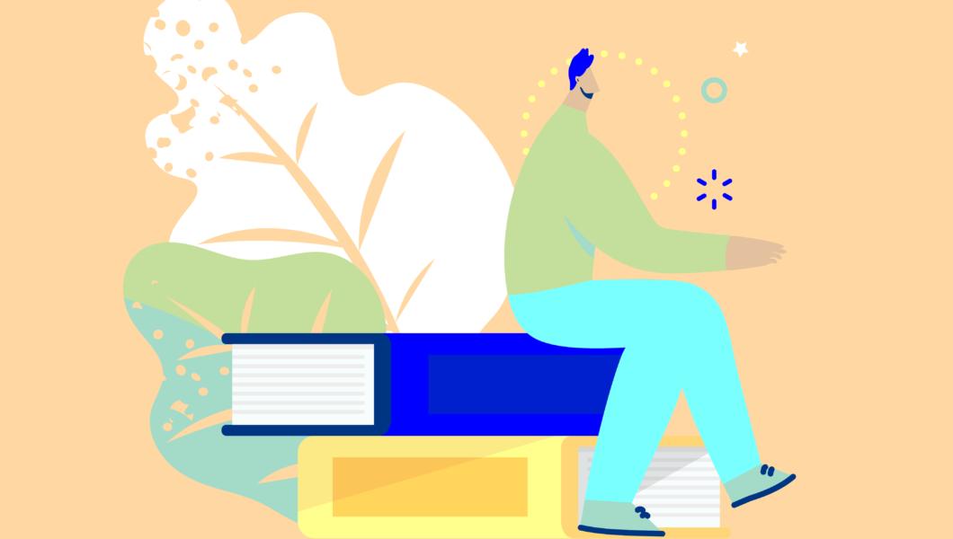 ilustracja, mężczyzna w niebieskich spodniach siedzi na 2 książkach - dużej granatowej i mniejszej żółtej